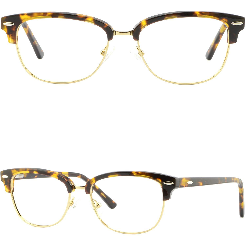 2c56386e129 Get Quotations · Womens Browline Frames Acetate Glasses Eyeglass Spring  Hinges Tortoiseshell Gold