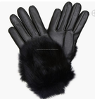 cashmere lined napper leather gloves for women with rabbit fur cuff