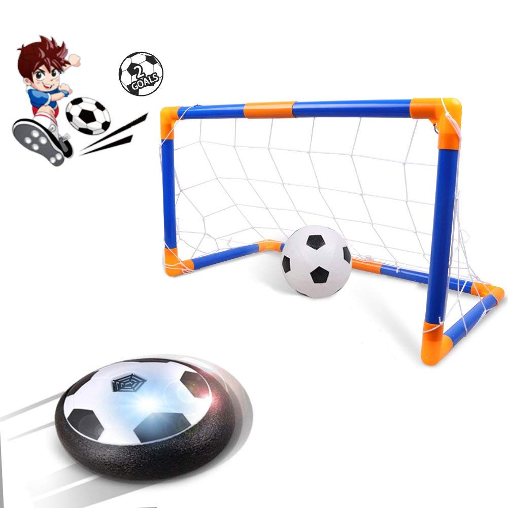 Kids Toys Hover Ball, Rolytoy Air Power Soccer Goal Set for Age of 2-16 Year Old Boys Girls with LED Lights as Indoor Outdoor Sport Games Gifts