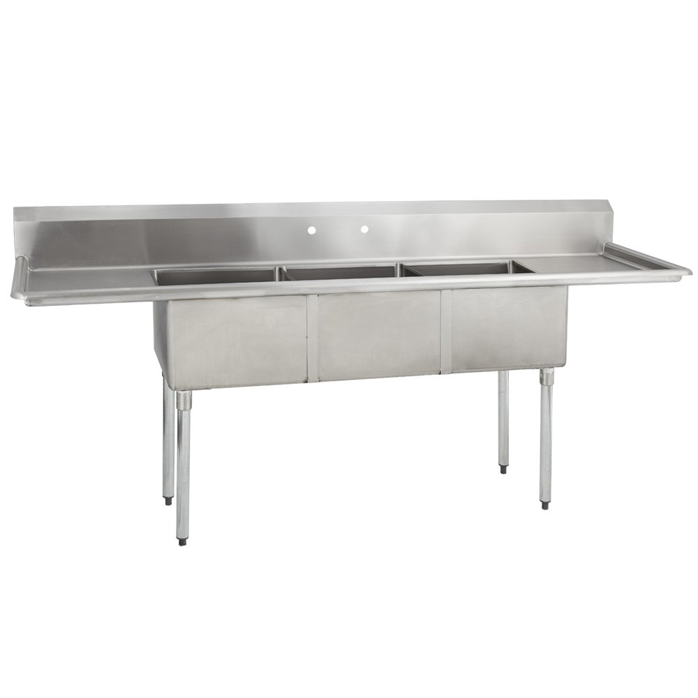 "Fenix Sol 18G-3C15X15-215 Three Compartment Stainless Steel Sink, Bowl: 15""L x 15""W x 12""D, Overall Size: 75""L x 20.8""W x 43""H, 2 x 15"" Drainboards, Galv Legs"