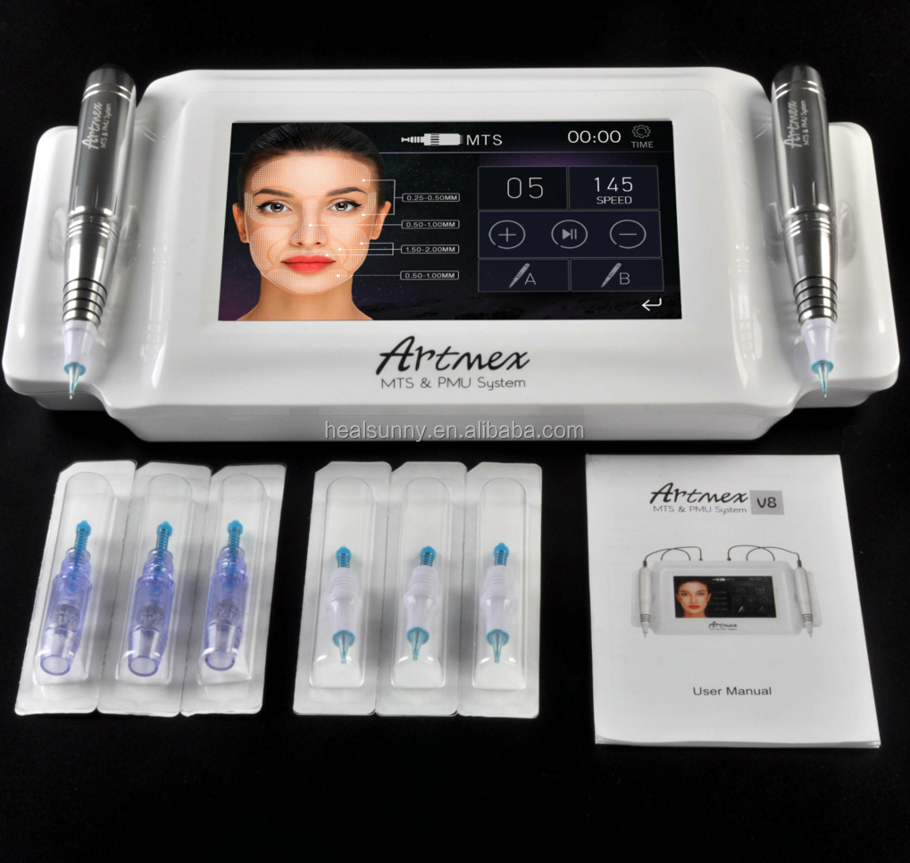 Artmex V8 7 inch glas touch screen MTS + PMU professionele permanente make-up machine voor wenkbrauw