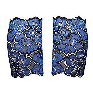 Sock - SODIAL(R)Women Stretch Lace Boot Cuffs Flower Leg Warmers Lace Trim Soft Toppers Socks blue
