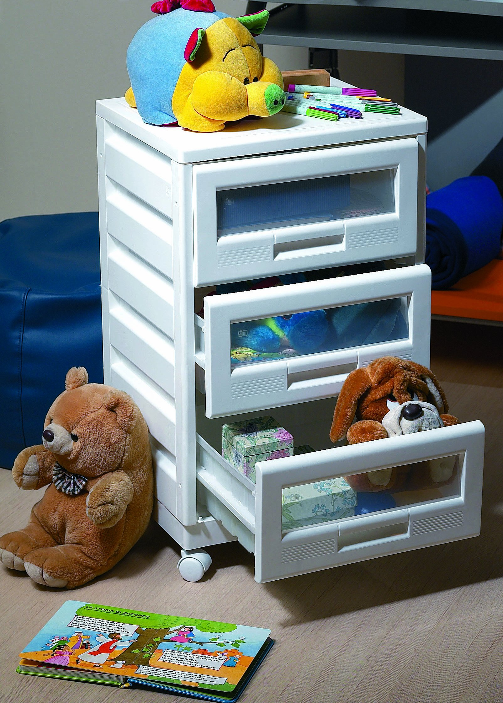 3 drawer Storage and Organization Cabinet or Cart, See-through Drawers, Casters, Stackable, White