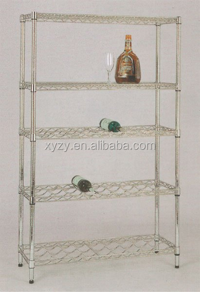 NSF chrome plated metal wine shelf with hige quality