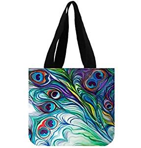 50858eaa75a9 Get Quotations · Custom Shopping Bag Abstract Painting Peacock Feather  Canvas Tote Bag Reusable Shopping Bag