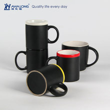 Matte black mug / White porcelain black mug from Awalong