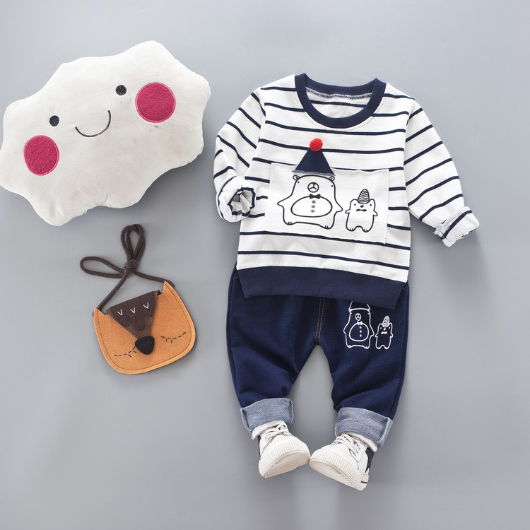 The Wholesale top quality trend 2018 stripe bright color fashion baby boy clothing set with fast delivery фото