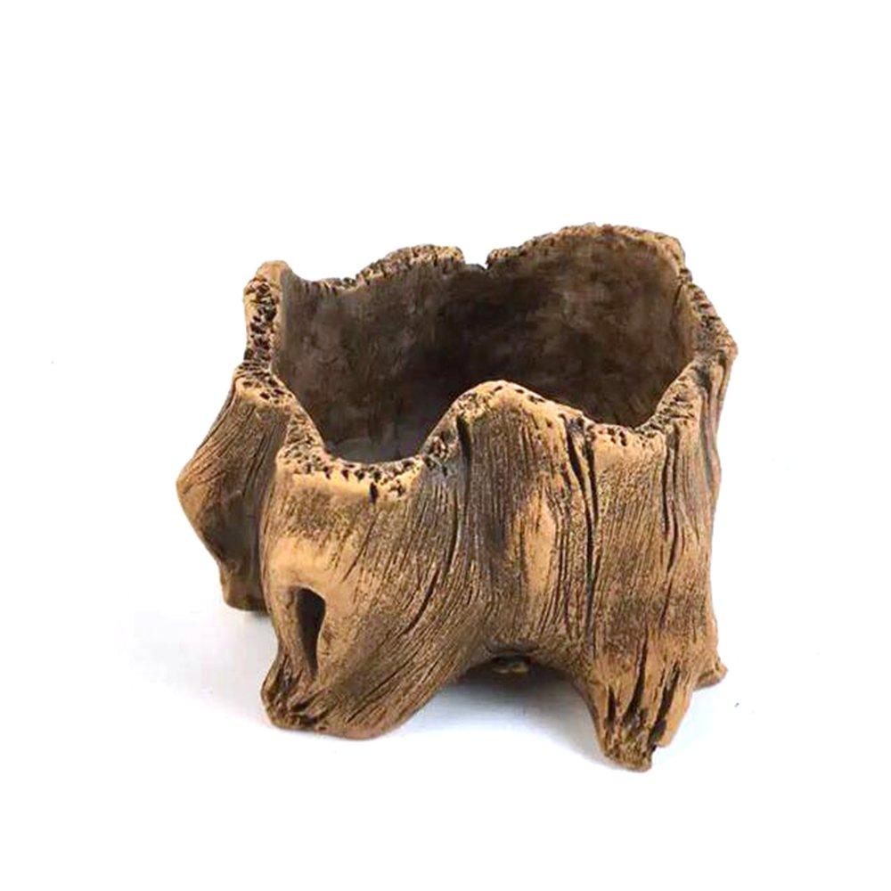 Grandma's Story Vintage Gardening Pots, Creative Imitation Wood Concrete Cactus Succulent Planter Flower Pot (L)