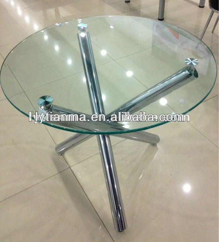 Mesa comedor de cristal redonda moderna superior bajo sets para ...