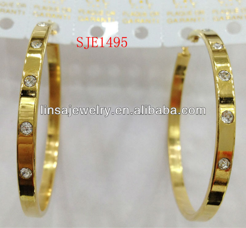 Fashion Gold Plated Hoop Pave Diamond Stainless Steel Earrings