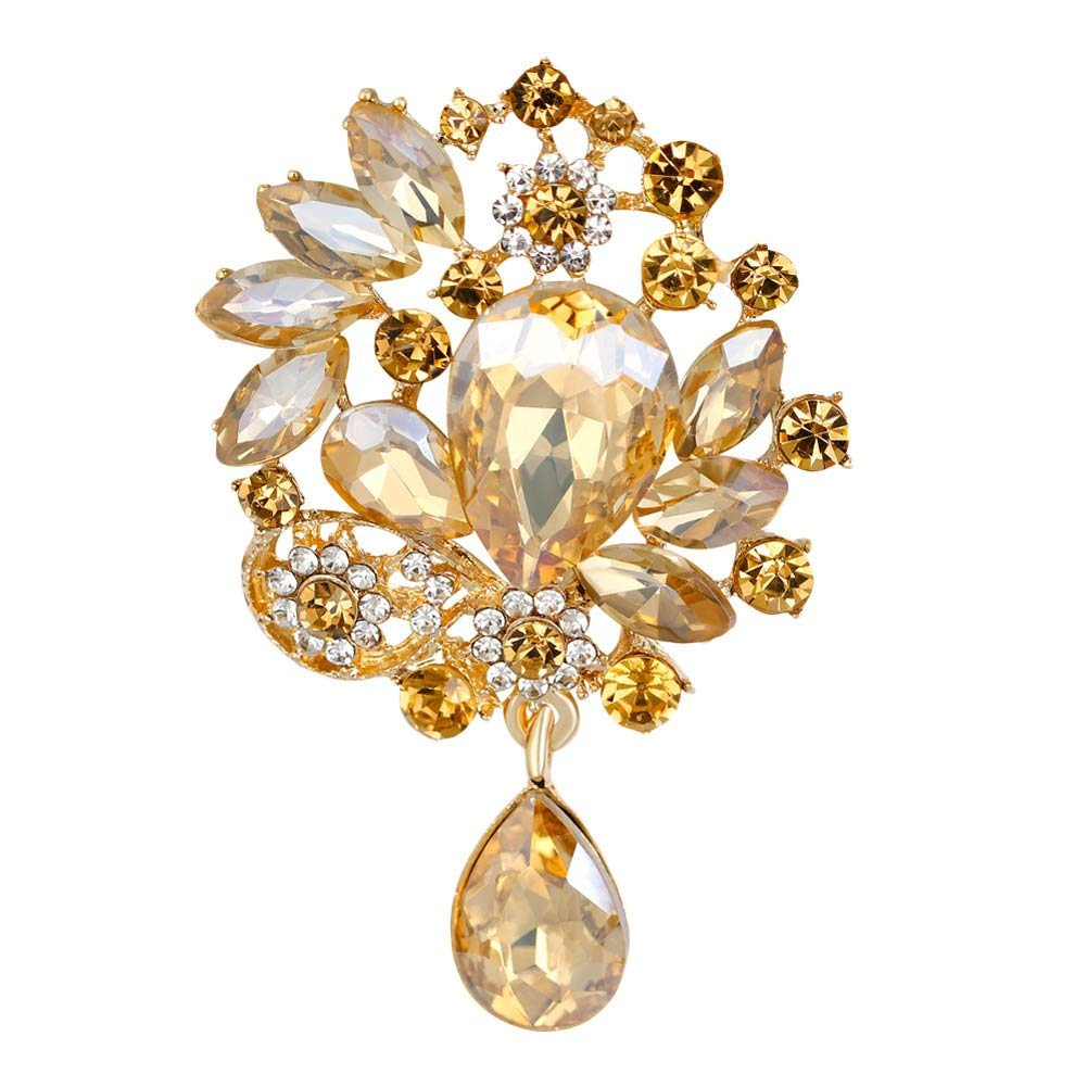 Hot Sale Vintage Brooches Elegant Design Six Color Big Size Brooch Rhinestone White K color Jewelry Brooches For Women-in Brooches