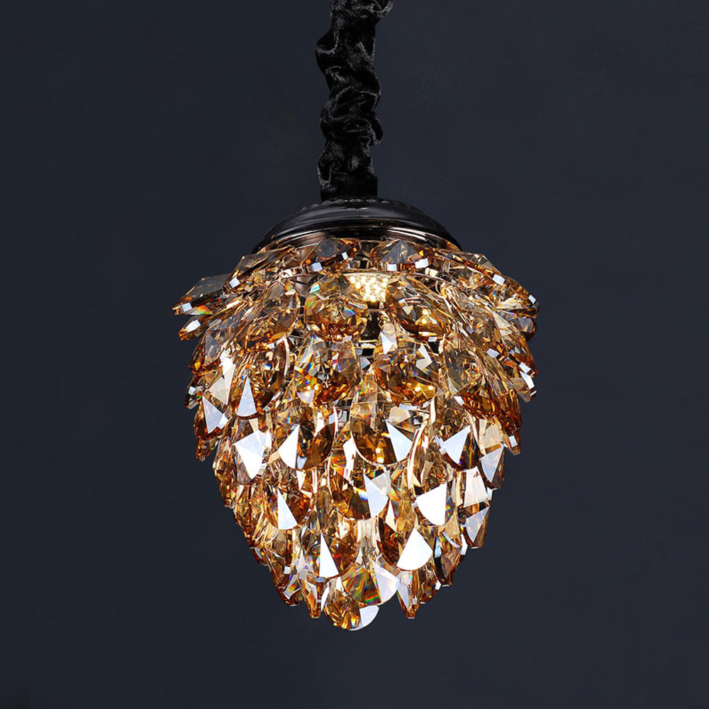 Victorian hotel pinecone shape LED crystal pendant hanging light