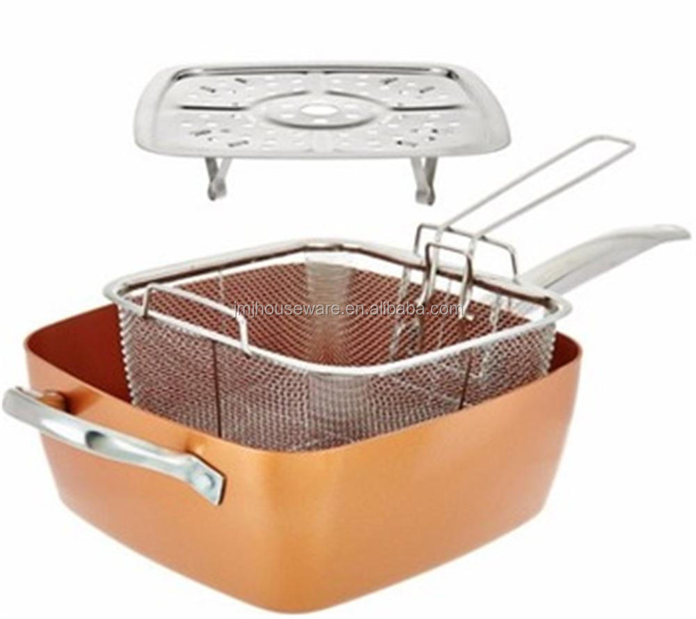 24cm Copper Square Pan With Glass Lid Fry Basket And Steam