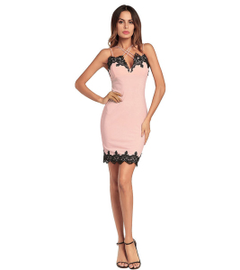 A3668 Fashionable Women Sleeveless White Pink Red Dress Summer Ladies Lace Patchwork Pencil Dress