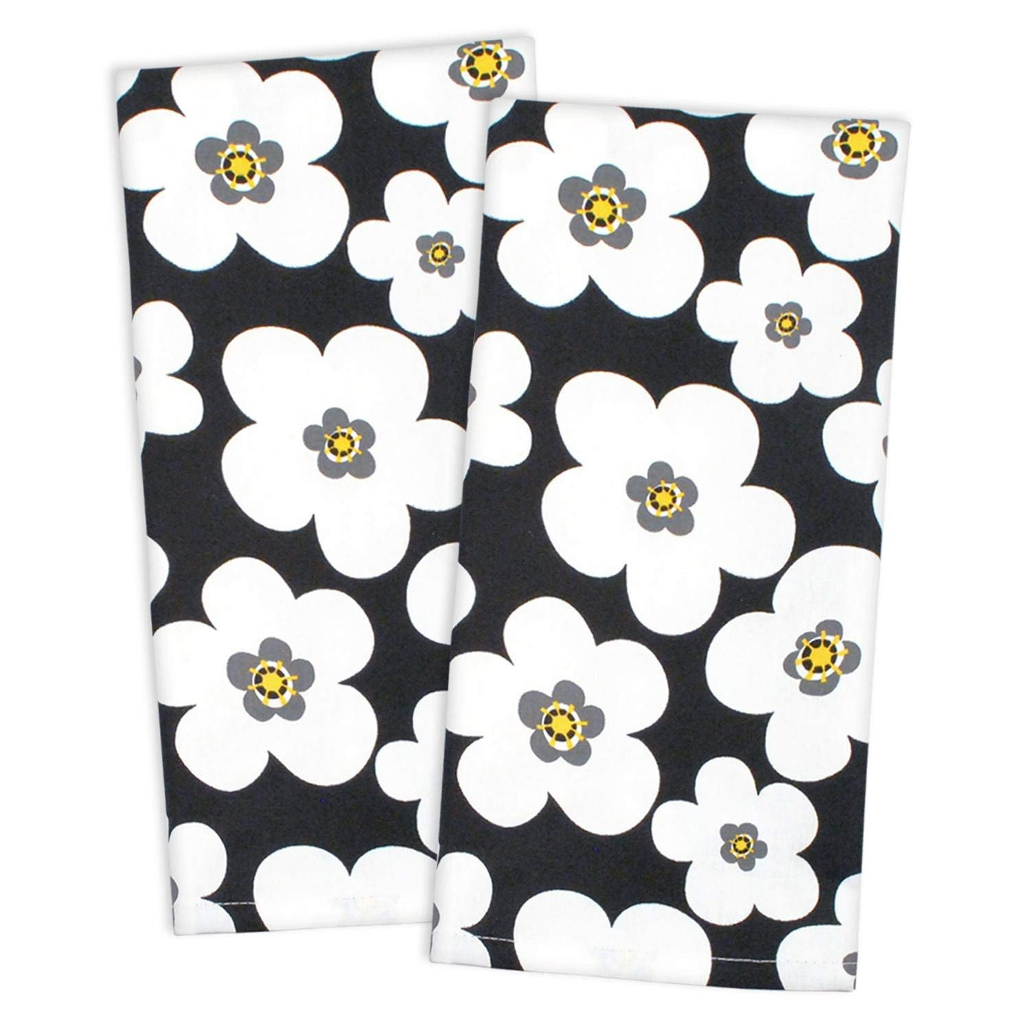 CC Home Furnishings Set of 2 Black and White Bloom Cloth Napkins 28""
