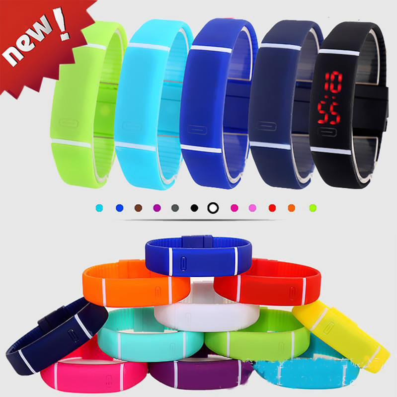 Hot sell jelly color student LED digital wrist watch Rubber band Sport led watches for women <strong>men</strong>