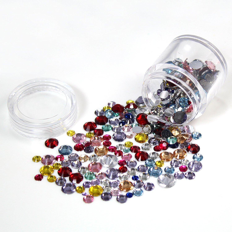Perfect Summer Nails Art DIY Decoration 3D Crystal Glitter 520pcs Rhinestones Studs Beads for DIY Nails Salon Manicur Kits Mix Colors/Sizes
