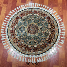 Pure Silk Luxury Custom Persian Style Round Rug Hand Knotted Silk Circular Carpet