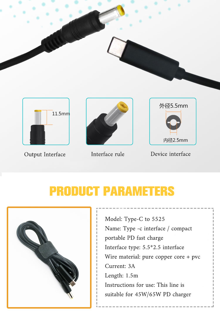 Tipe-C USB-C PD Charger Pengisian Kabel Lenovo Dell HP Charger Laptop