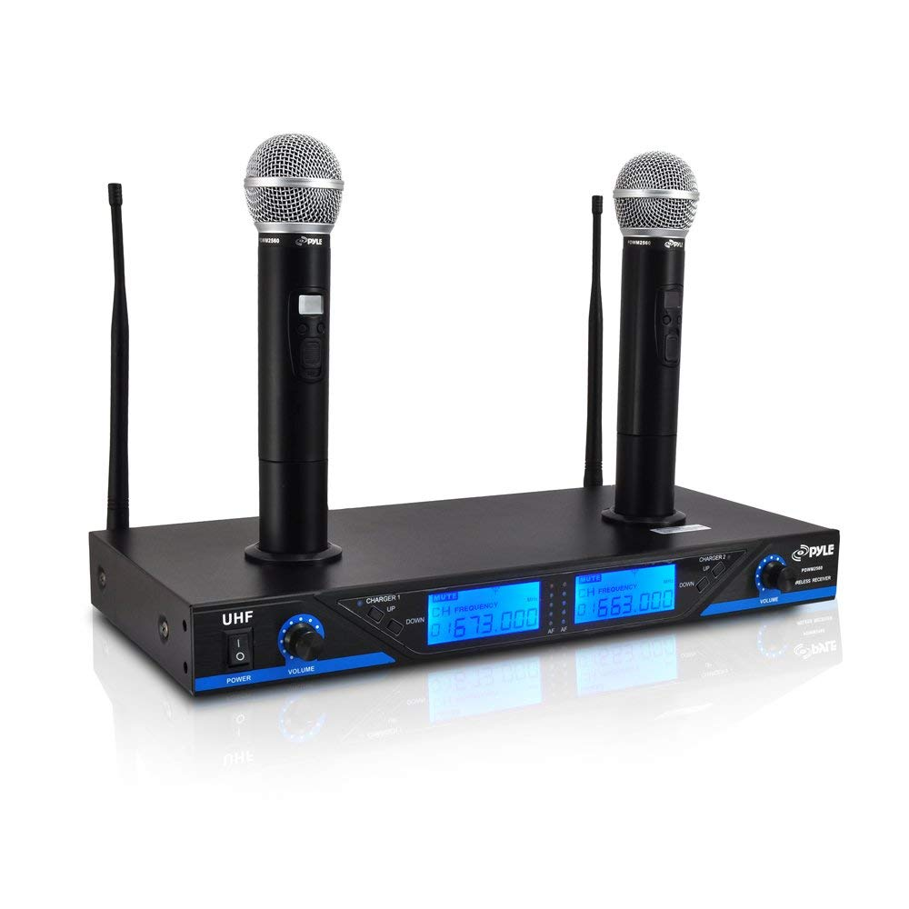 16 Channel Wireless Microphone System - Portable UHF Digital Audio Mic Set with 2 Handheld Dynamic Mic, Receiver, Dual Detachable Antenna, Power Adapter - For Karaoke, PA, DJ Party - Pyle Pro PDWM2560