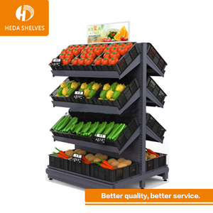 3 Layers Supermarket Fruit Vegetable Storage Rack /Display Stand shelf