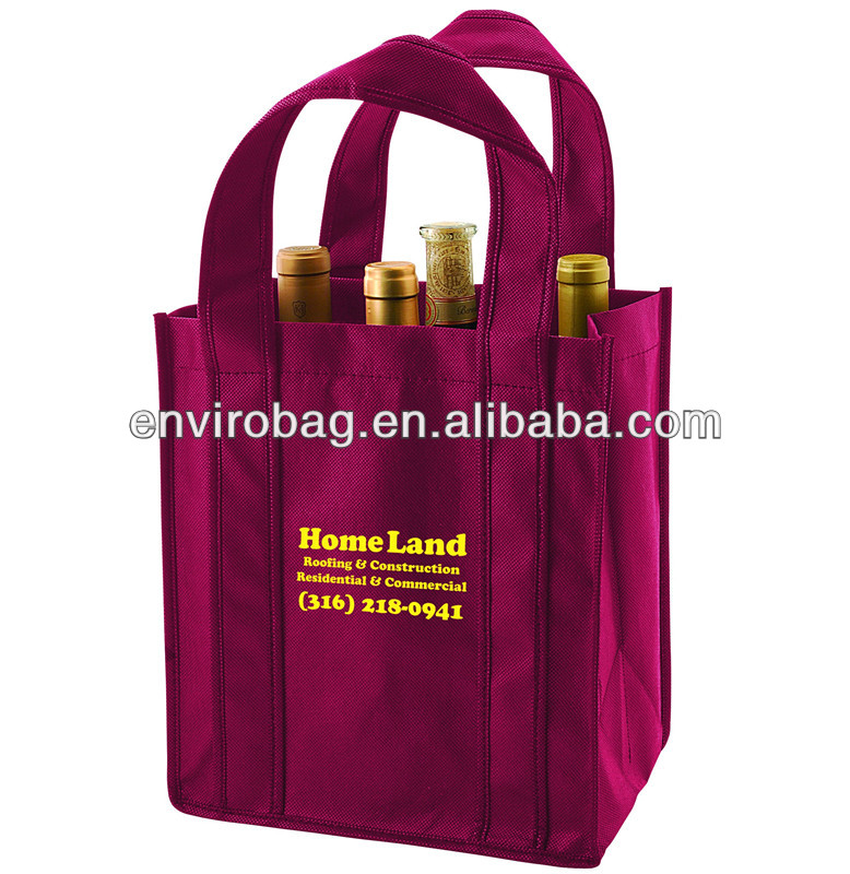 100% Recycled Fabric 6 Bottles or 4 Bottles or 2 Bottles nonwoven wine tote bag