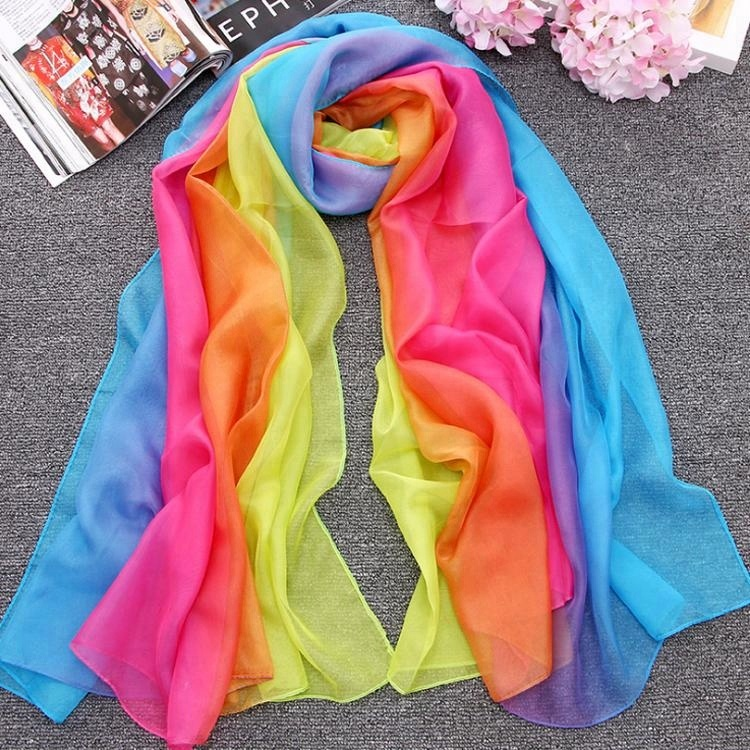 summer hot sale chiffon rainbow lady and girls favorite scarf and shawl on the beach