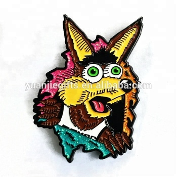 Custom Black Nickel Plating Animal Shape Lapel Pin Soft Enamel With Glitter Badge Pin