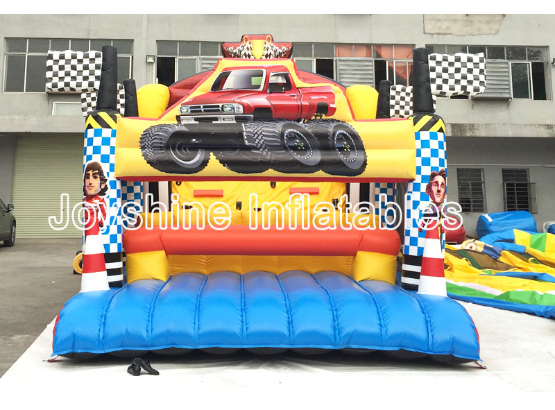 Car Theme Bouncy Castle Wipeout Course Bouncers Kids Adult Challenge Fun Run Sports Inflatable Jumping Obstacle For Events