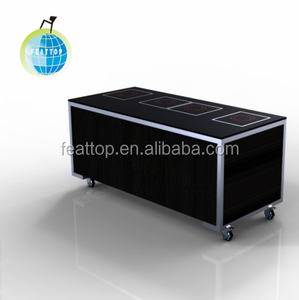 Rectangular induction holding station with heating lamps buffet table for hotels