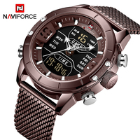 NAVIFORCE 9153 Men Week Time Display Watches Stainless Steel Mesh Strap Japan Quartz Digital Business Wristwatch