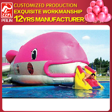 Amusement park equipment large pink dolphin inflatable water slide