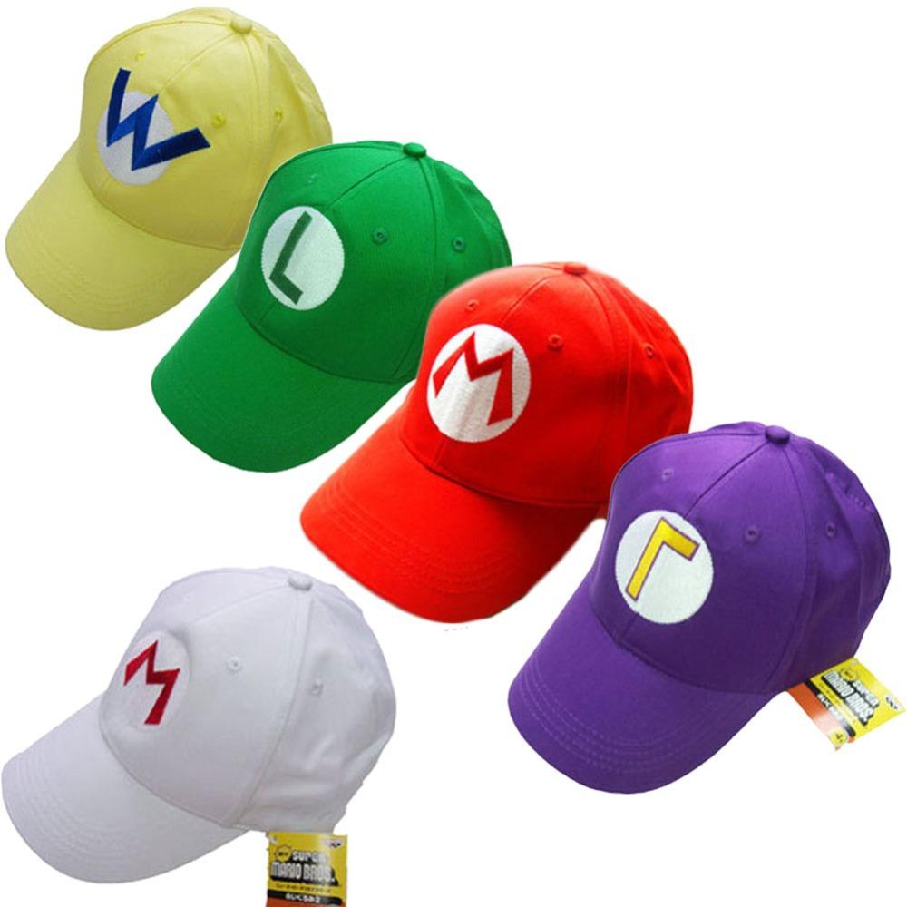 69e5dc7962de Super Mario Bros Luigi Baseball Hat Adjustable Summer Embroidery Cap  Cosplay 5 Colors