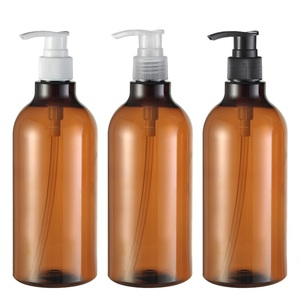 16oz 500ml Empty Shampoo Pump Plastic Bottle for lotion emulsion and bath foam , 500ml brown long neck lotion pump bottle