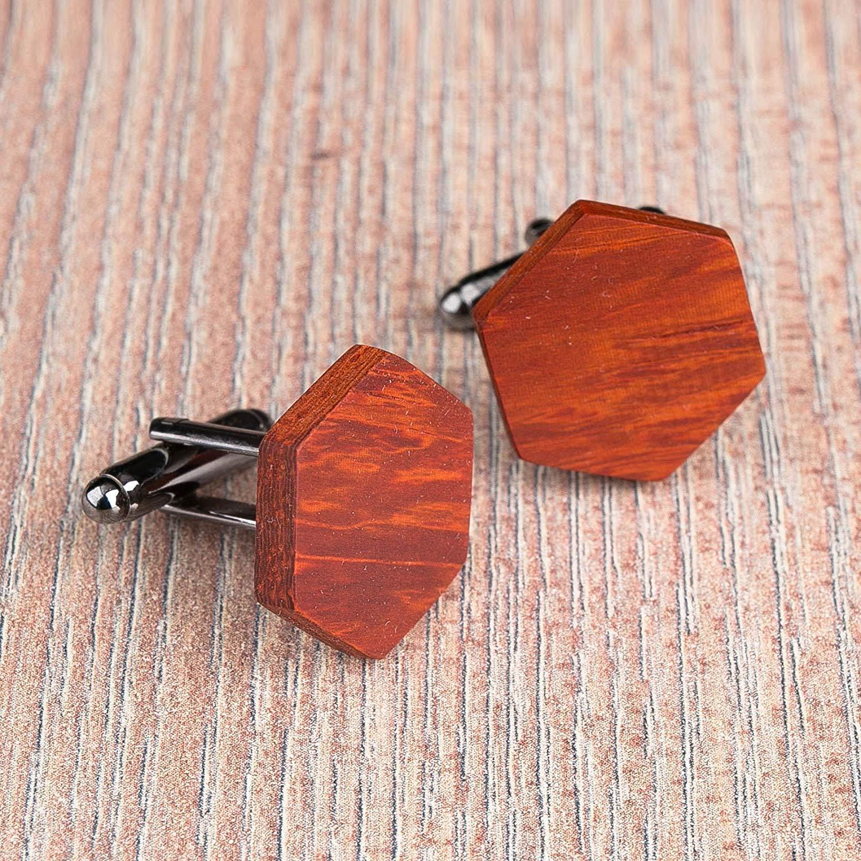 Wood cufflinks. Hexagon natural paduk cufflinks. Custom personalized initial monogram cufflinks. Engraved jewelry for men. Wedding groomsmen groom gifts