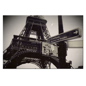 Silent Movie Style Eiffel Tower Printed Picture/Wholesale Canvas Printing Picture Framed Artwork