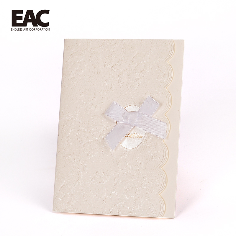 Hot sale elegant lace emboss design wedding invitation cards gift for new marriage