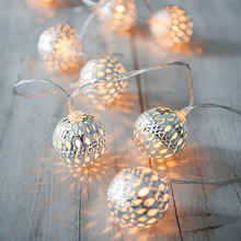 Morocco Iron Ball Decorative LED Hanging String Light For Wedding Garden DIY Home