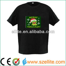 2015 latest design fantastic and novelty gift musical led t-shirt christmas