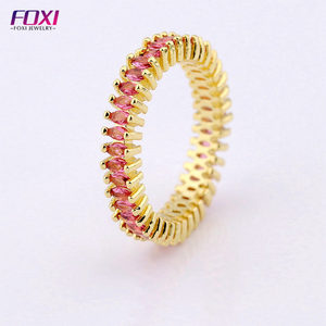 Synthetic ruby stone 18k gold rings design for women