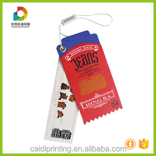 Jeans Swing Tag Custom Cloth Printing Swing Tags