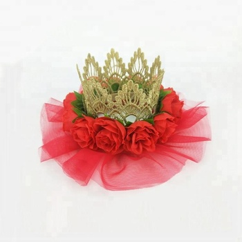 High Quality DIY golden rose flower lace Princess Crown baby Birthday Headband Hair Accessories