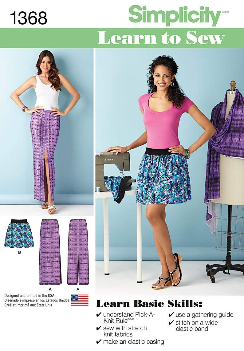 Simplicity Learn To Sew Pattern 1368 Misses Pull-on Short Skirt and Knit One Piece Maxi Skirt, Sizes 6-8-10-12-14-16-18