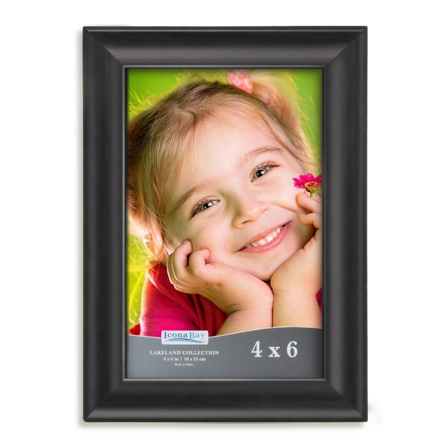 Icona Bay 4x6 Picture Frame (1 Pack, Black Wood Finish), Photo Frames for Wall or Table, Photo Frame 4x6, Black Picture Frames 4 x 6, Black Photo Frames 4x6, Wood Frame, Lakeland Collection