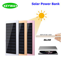 China Manufacturer 10000mAh Ultra Thin Super Slim Metal Solar Power Bank External Battery Pack Charger For iphone 8