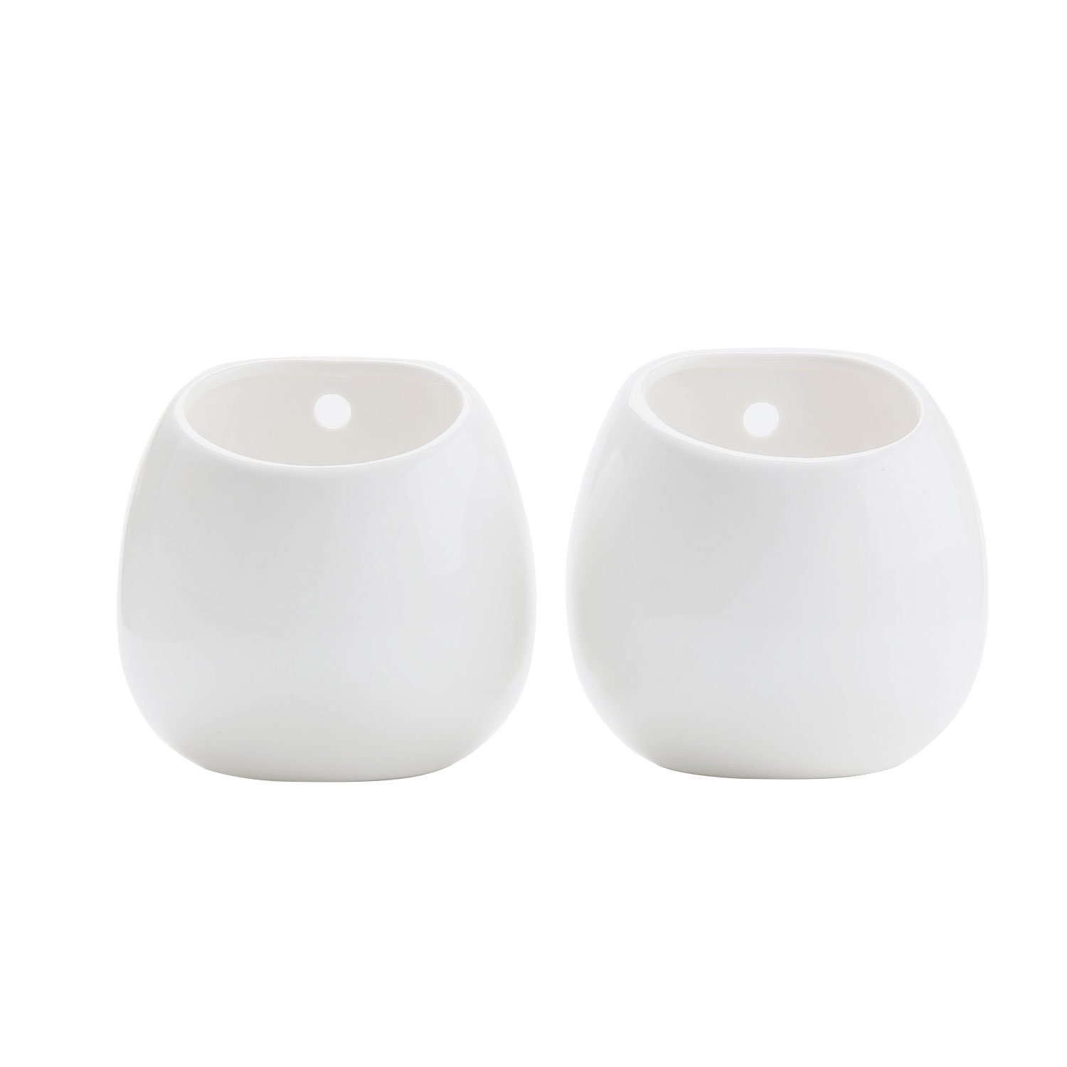 T4U Ceramic Wall Mounted Hanging Planter Vase Holder Pack of 2 Medium, Home Office Wall Decoration
