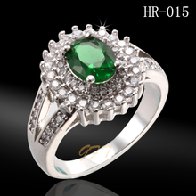 Wholesale fashion ring design emerald green stone ring
