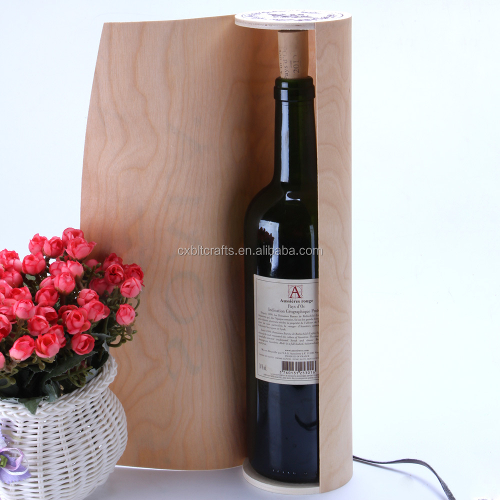 Fashion Cheap Birch Venner Single Bottle Cylinder Wooden Wine Gift Box