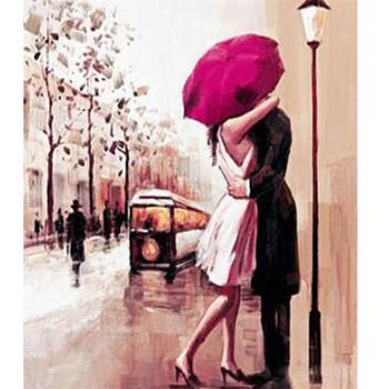 Cinta Romantis Lukisan Pada Kanvas Untuk Gambar Lukisan Paris