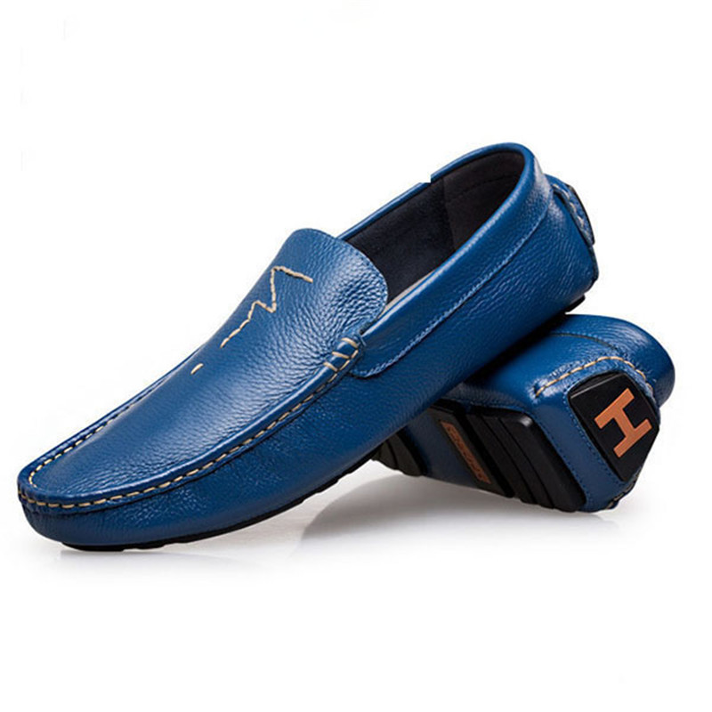 Plus Size 36-47  Handmade Genuine Leather Shoes Men Loafers 2015 Spring Autumn Brand Mens loafers Shoes Casual Slip On Shoes